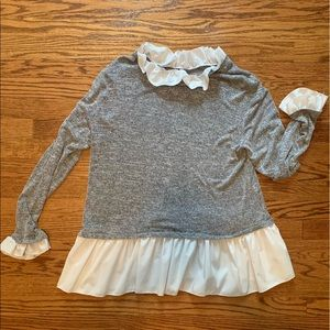 Long sleeve white and grey layered-look top